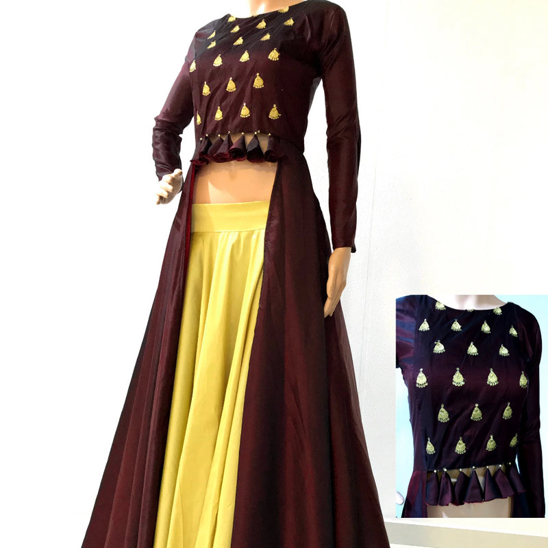Maroon indowestern with lehnga