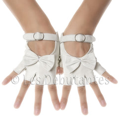 White Fingerless Bow Leather Gloves