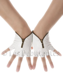 White Fingerless Zip Leather Gloves
