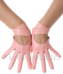 Pink Strap Leather Gloves