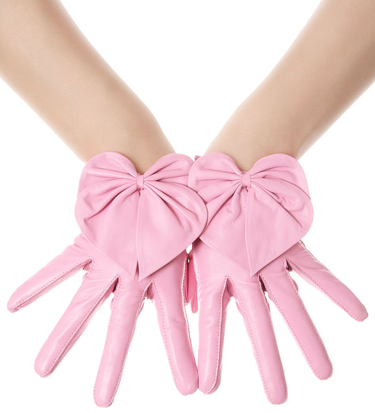 Sugar Pink Heart Bow Leather Gloves