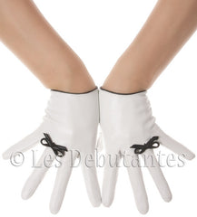 White Bow Ring Leather Gloves