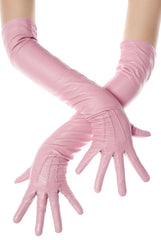 Long Sugar Pink Leather Opera Gloves Button Wrist