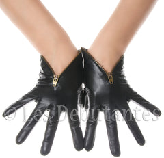 Black Zip Leather Gloves