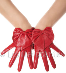 Lipstic Red Heart Bow Leather Gloves