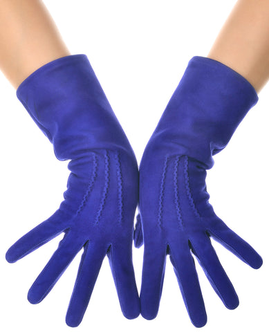 Blue Suede Mid Length Leather Gloves