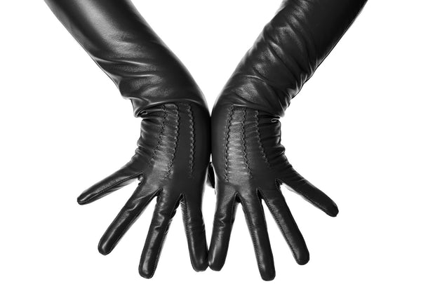 Long Black Leather Opera Gloves Button Wrist