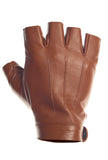 Brown High Wrist Fingerless Leather Driving Gloves