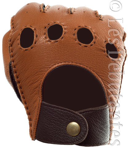 Brown Hand Stitched Leather Driving Gloves