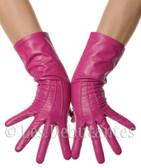 Fuchsia Pink Mid Length Leather Gloves