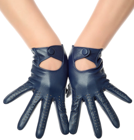 Navy Blue Leather Driving Gloves