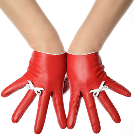 Lipstick Red Bow Ring Leather Gloves