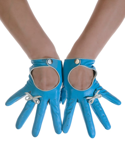 Sky Blue Bow Ring Leather Driving Gloves