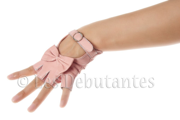 Pink Fingerless Bow Leather Gloves
