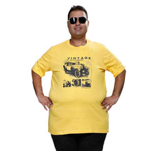 T.T. MENS PLUS SIZE PRINTED YELLOW TSHIRTS