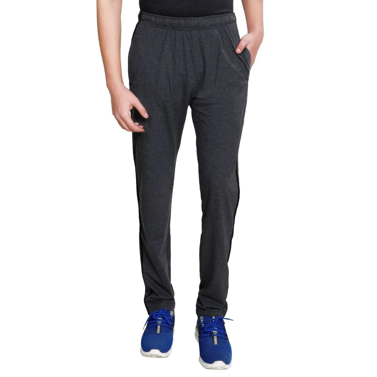T.T. Men Cotton Track Pants - Anthra