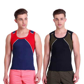 T.T. Men Titanic Designer Gym Vest Pack Of 2 (Blue - Green)