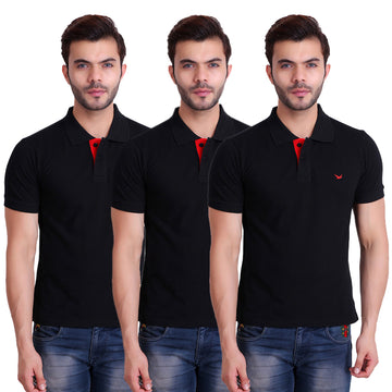HiFlyers Men T-Shirts Polo Black Pack of 3