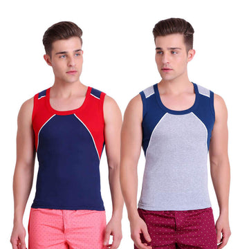 T.T. Men Titanic Designer Gym Vest Pack of 2 (Blue - Grey)