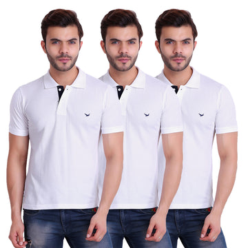 HiFlyers Men T-Shirts Polo White Pack of 3