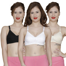 T.T. Women Premium B Cup Bra Pack Of 3 Black-Skin-White