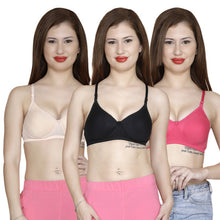 T.T. Women Molded Cup Bra Pack Of 3 Black-Skin-Fuschia
