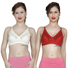 T.T. Women Pc Hosiery With Spandex Lace Bra Pack Of 2 Red-White