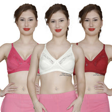 T.T. Women Pc Hosiery With Spandex Lace Bra Pack Of 3 Marron-Fuschia-White