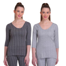 TT Women Top Thermal Anthra - Grey Melange (Pack of 2)