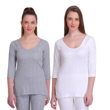 T.T. Women Hotpot Elite 3/4Th Slip Thermal Grey-White (Pack Of 2)
