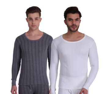 TT Men Top Thermal Anthra - White (Pack of 2)