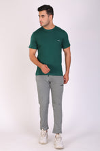 HiFlyers men Slim fit Solid Premium RN tshirts EDEN GREEN