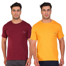 Hiflyers Men Slim Fit Solid Pack Of 2 Premium RN T-Shirt Gold ::Maroon