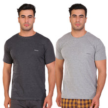 Hiflyers Men Slim Fit Solid Pack Of 2 Premium RN T-Shirt Grey::Anthra