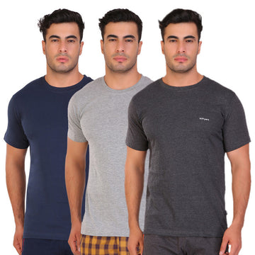 Hiflyers Men Slim Fit Solid Pack Of 3 Premium RN T-Shirt Grey::Anthra::Navy