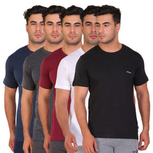 Hiflyers Men Slim Fit Solid Pack Of 5 Premium RN T-Shirt Black::White::Maroon::Anthra::Navy