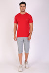 Men Round Neck Red T-shirt