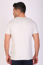 HiFlyers Men Slim Fit Self-Design Premium Rn Tshirts Ecru Melange