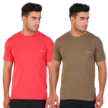 Hiflyers Men Slim Fit Pack Of 2 Premium RN T-Shirt Olive ::Red