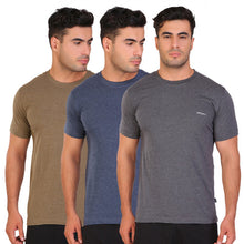 Hiflyers Men Slim Fit Pack Of 3 Premium RN T-Shirt Anthra ::Blue ::Olive