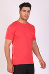 HiFlyers Men Slim Fit Self-Design Premium Melange Rn Tshirts Red