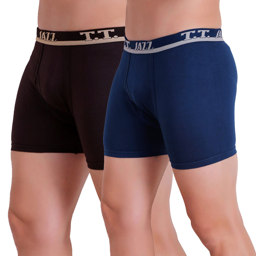 T.T. Men Jazz TE Trunk Pack of 2 (Blue - Brown)