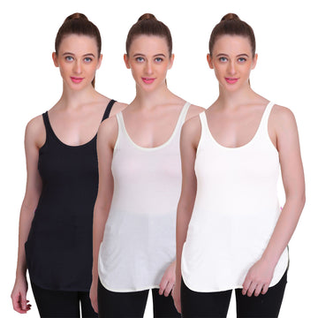 T.T. Women Long Slips Pack of 3 (Black, White, Cream)