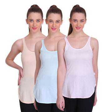 T.T. Women Long Slips Pack of 3 (Blue, Peach, Pink)