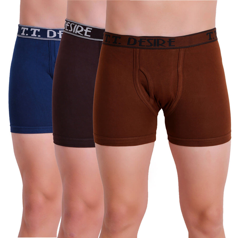 T.T. Men Desire FL Trunk Pack of 3 (Rust - D.Brown - Blue)