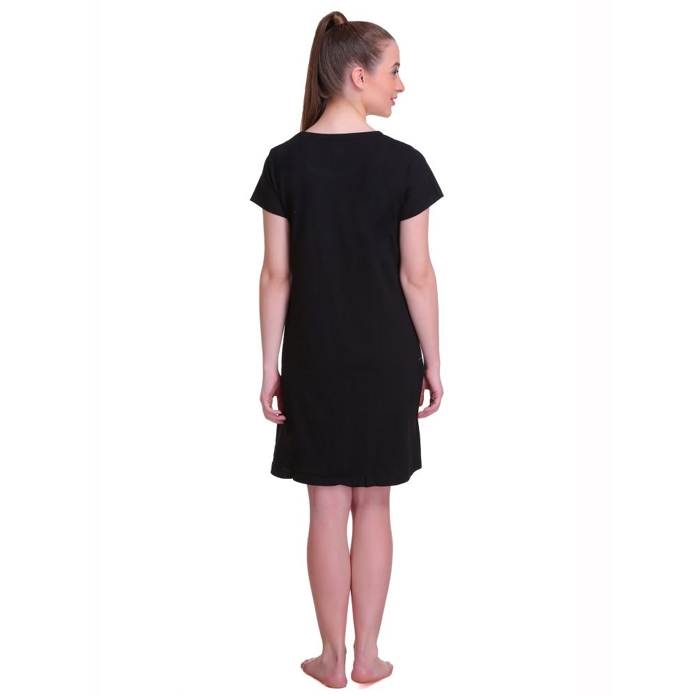 T.T. Women Half Sleeves 3/4 Gown - Black