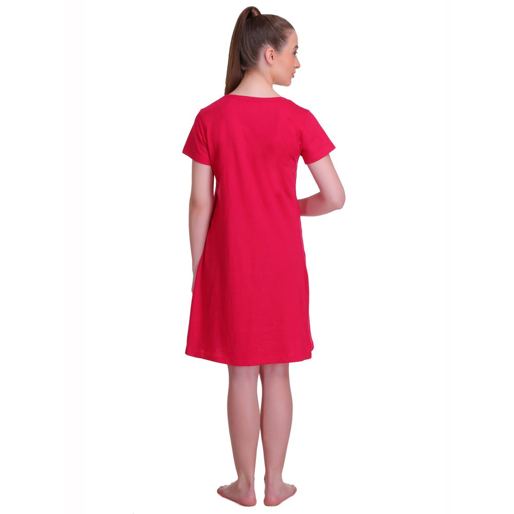 T.T. Women Half Sleeves 3/4th Gown - Fuchsia