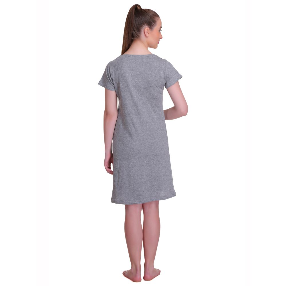 T.T. Women Half Sleeves 3/4th Gown - Grey