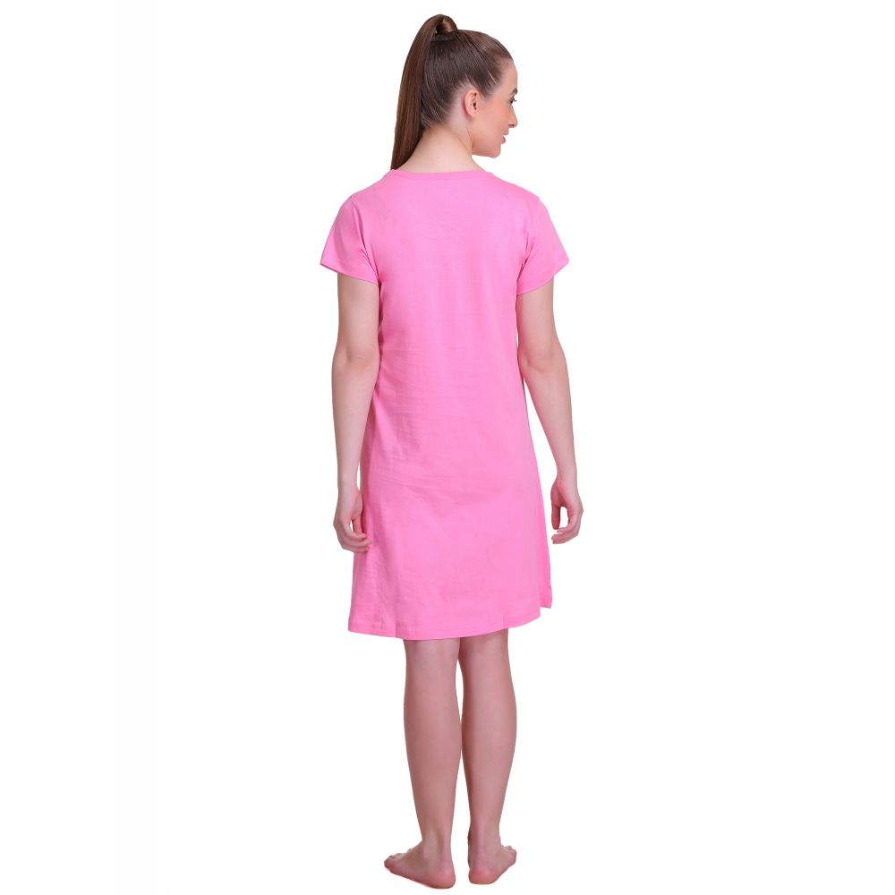 T.T. Women Half Sleeves 3/4th Gown - Pink