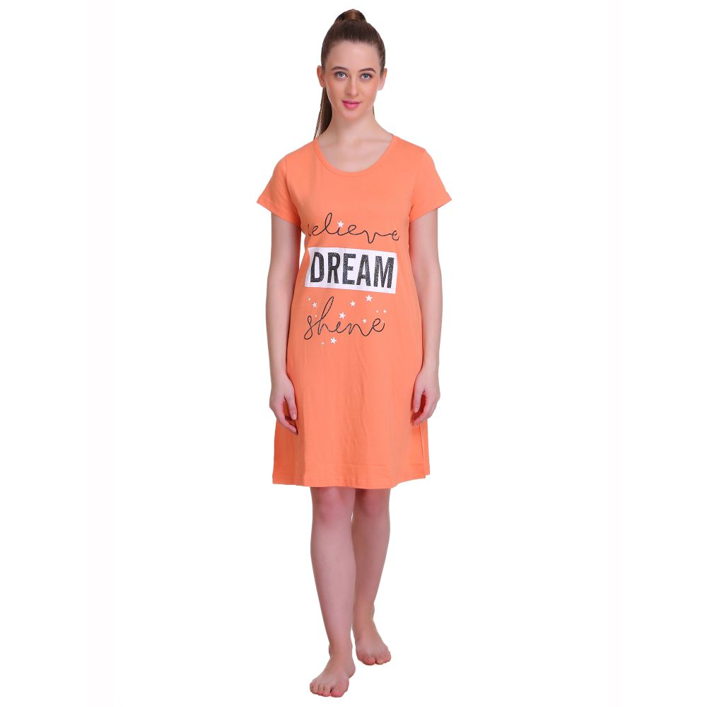 T.T. Women Half Sleeves 3/4th Gown - Orange